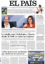 """Photo: En nuestra portada del lunes: """"Rajoy pugna por un asiento en el directorio de la nueva UE"""", """"La batalla entre Rubalcaba y Chacón divide al PSOE en todas las regiones"""" y """"Tráfico detecta más marihuana que alcohol en las carreteras"""". http://www.elpais.com/static/misc/portada20120109.pdf"""