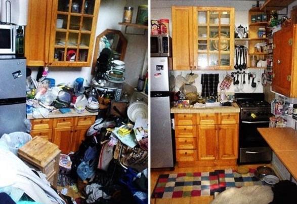 Кухня до и после уборки