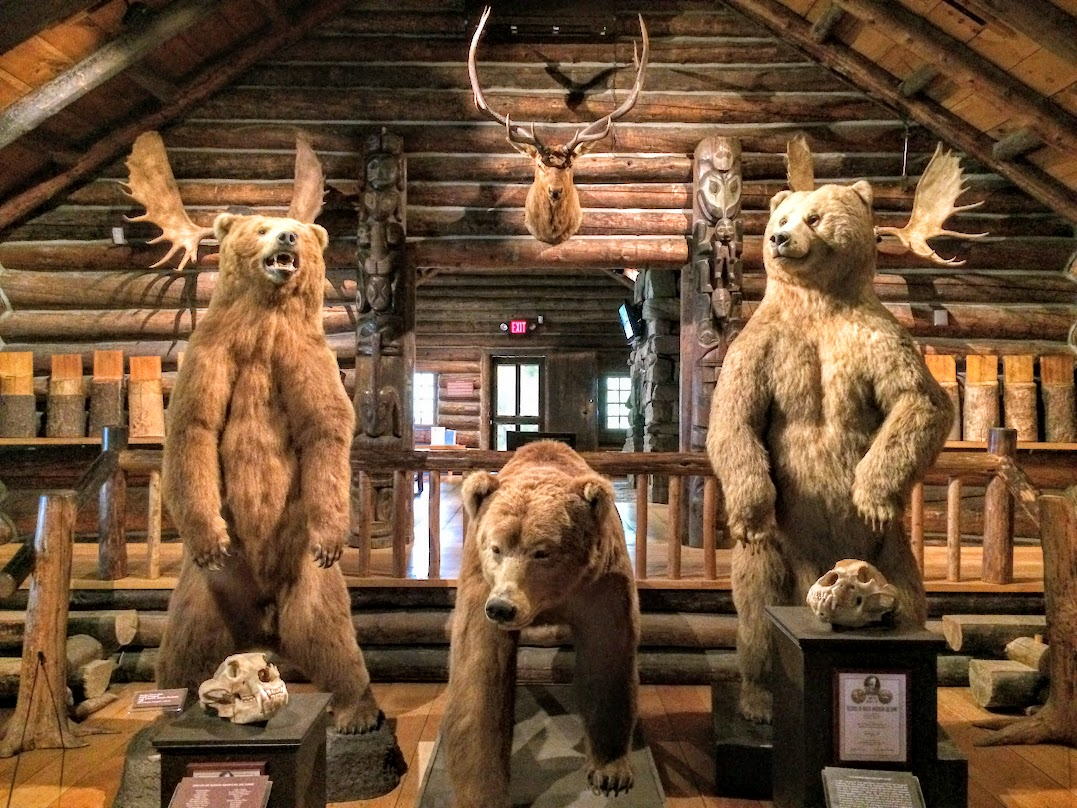Inside the Beach Lodge, which houses some awesome Adirondack life and hunting displays.