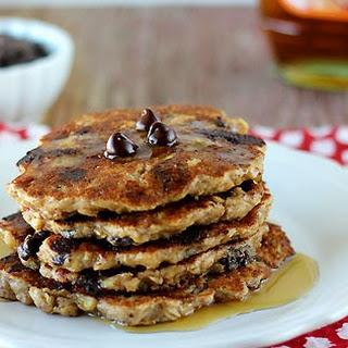 Vegan Chocolate Chip Oat Pancakes.