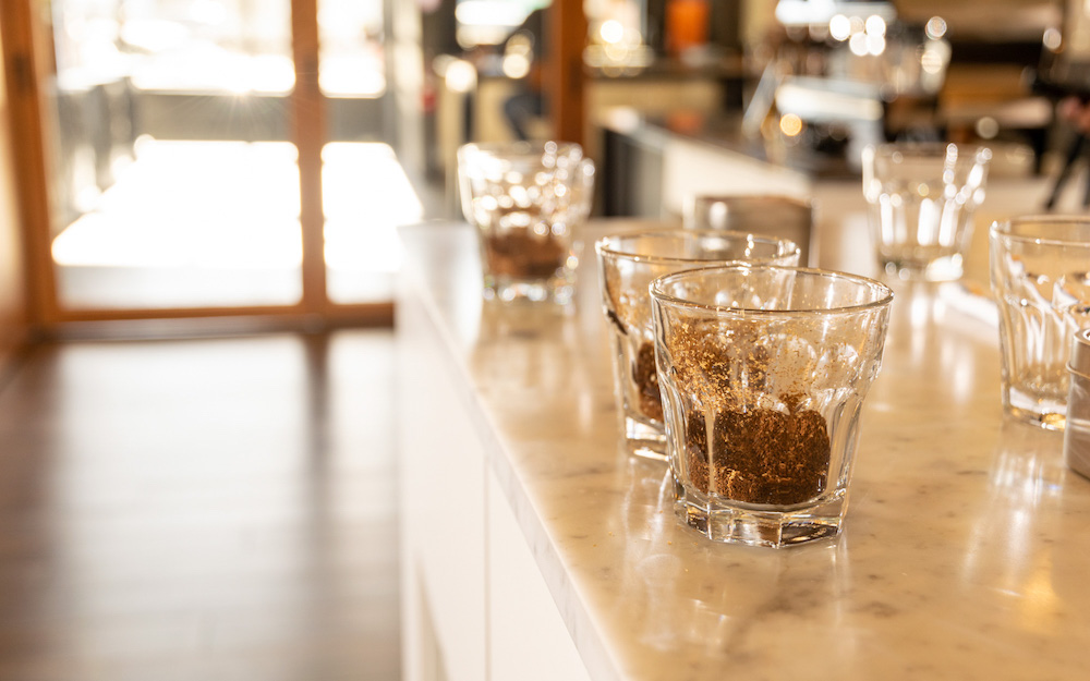 cups of ground coffee