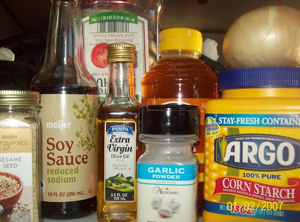 Mix together in a med bowl, ketchup, honey, soy sauce, garlic powder, & extra...