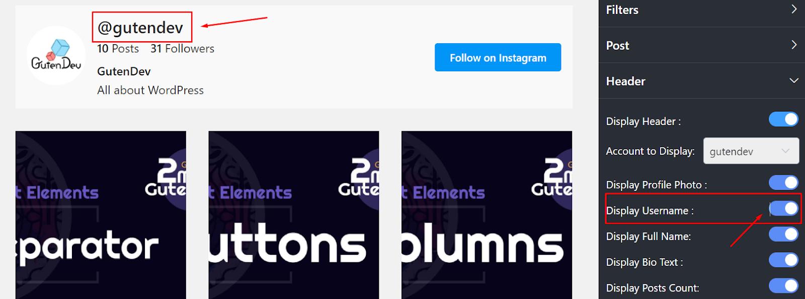 Instagram settings display username