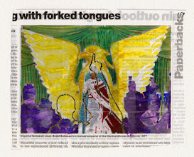Photo: G With Forked Tongues. Water color and gold leaf on newspaper, (171 x 138 mm).