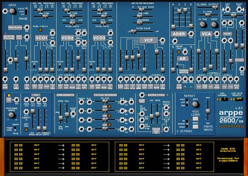 free modular synth vst Arpee2600va