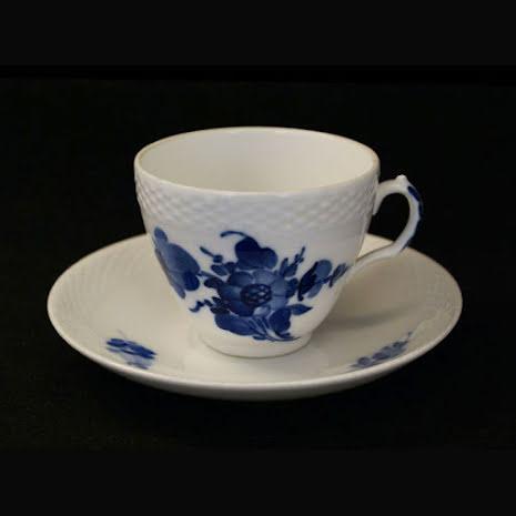 Blå Blomst - flettet Kaffekopp med fat