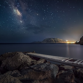 Guide your Spirit by Giorgos Makropoulos - Landscapes Starscapes ( stars, aegean sea, sea, kos island, seascape, rocks, dock, milky way, galaxy,  )