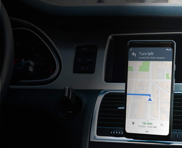 Phone providing directions in a car