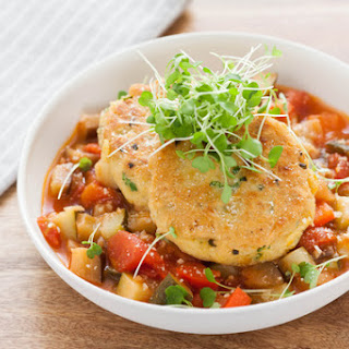 Crispy Chickpea Fritters with Ratatouille.