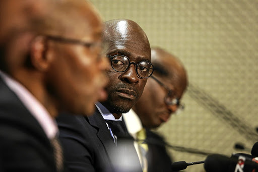 Finance Minister Malusi Gigaba holds  a media briefing in Pretoria. Picture: MOELETSI MABE