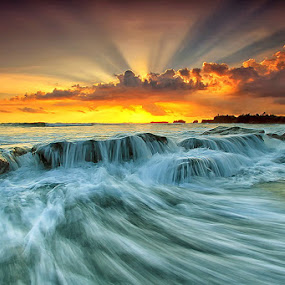 Rays And Motion by Agoes Antara - Landscapes Waterscapes ( nature, waterscape, sunset, beach, landscape, motion, rays )