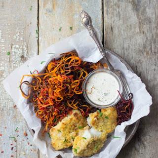 Crispy White Fish + Sweet Potato & Beet Curly Fries.