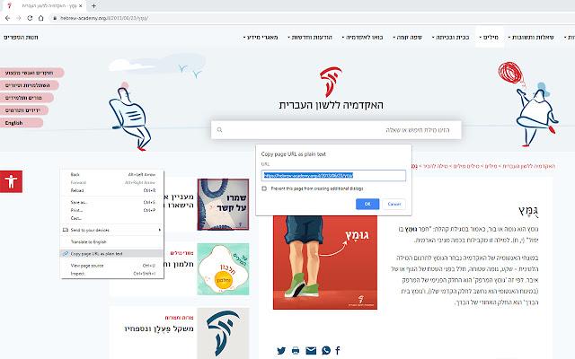 Copy page URL as plain text