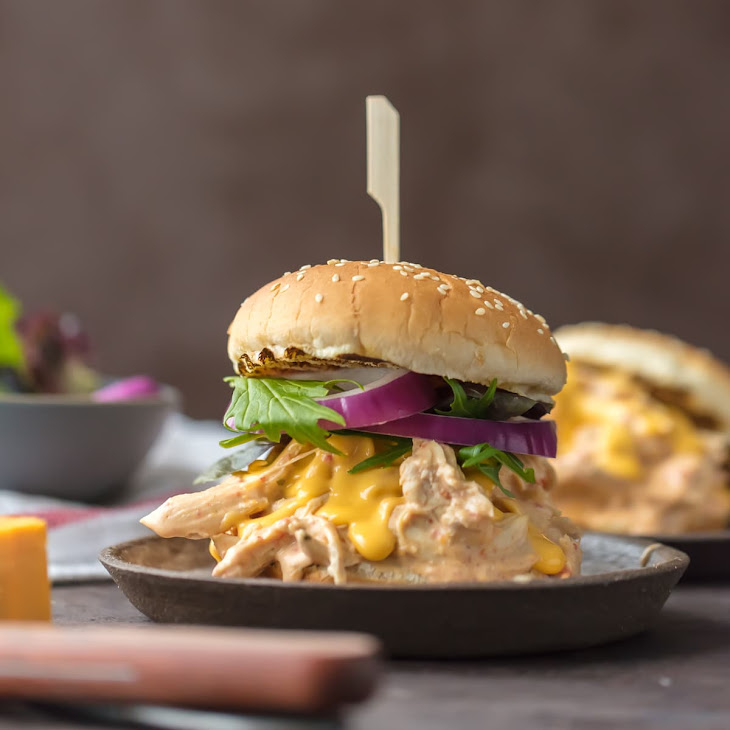 Slow Cooker Rotel Dip Chicken Sandwiches