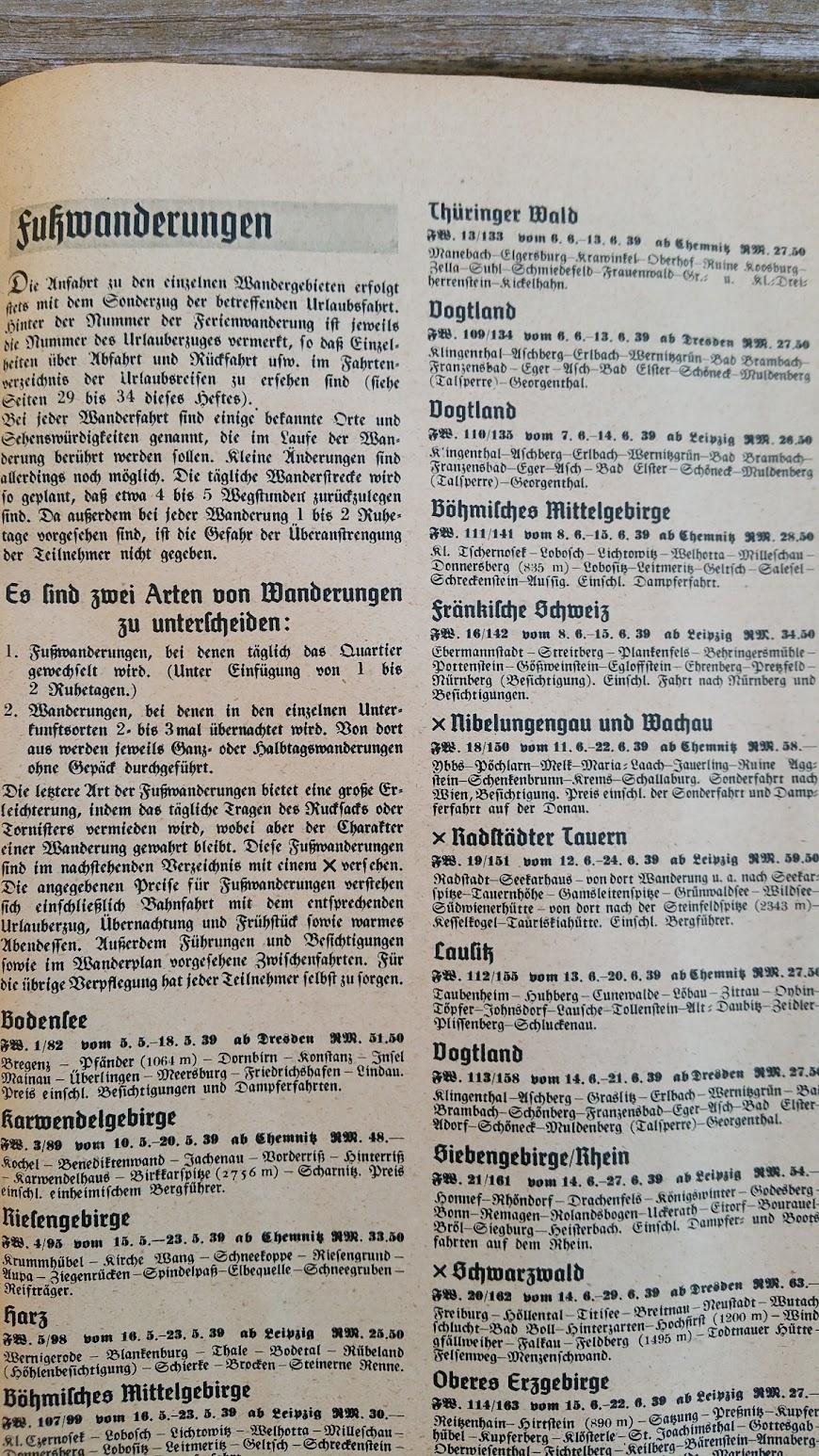 """Die Deutsche Arbeitsfront - Urlaubsfahrten 1939 - NS-Gemeinschaft """"Kraft durch Freude"""" Gau Sachsen - Katalog - Fußwanderungen"""