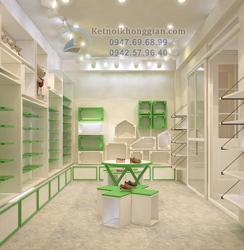 thiết kế shop thời trang trẻ em đẳng cấp với tông màu trắng - xanh