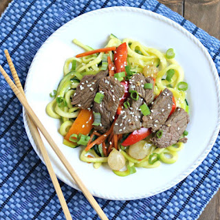 Asian Steak Stir Fry with Zucchini Noodles.