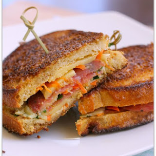 Salami and Veggies Grilled Cheese Sandwich.