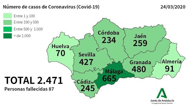 Mapa con los casos confirmados en Andalucía.