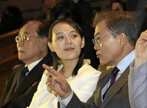 South Korean President Moon Jae-in talks with Kim Yo-jong, the sister of North Korea's leader Kim Jong-un, while watching North Korea's Samjiyon Orchestra's performance in Seoul, South Korea, on February 11 2018. File picture: Yonhap via REUTERS
