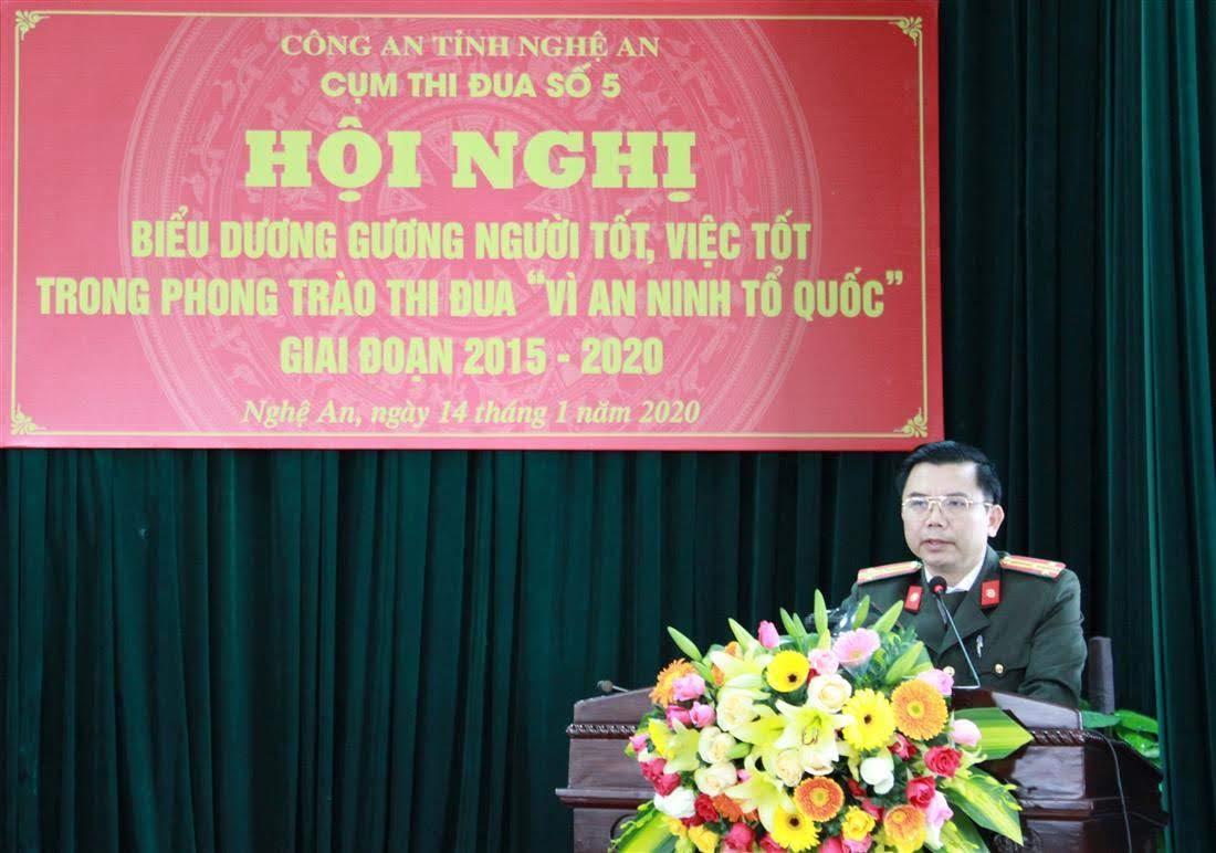 Đồng chí Thượng tá Nguyễn Văn Hùng, Trưởng phòng PX03 phát biểu tại Hội nghị