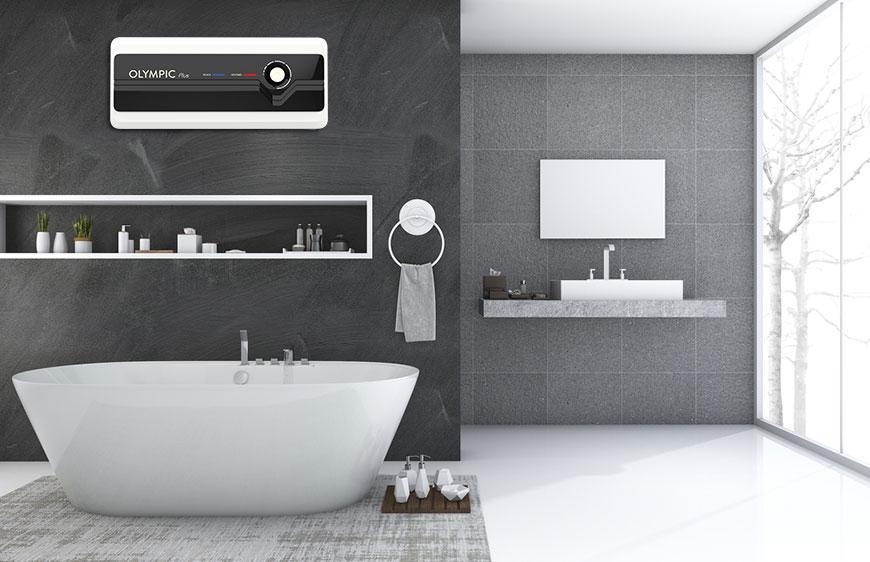 Bình nóng lạnh Olympic Plus giúp không gian phòng tắm nhà bạn thêm sang trọng