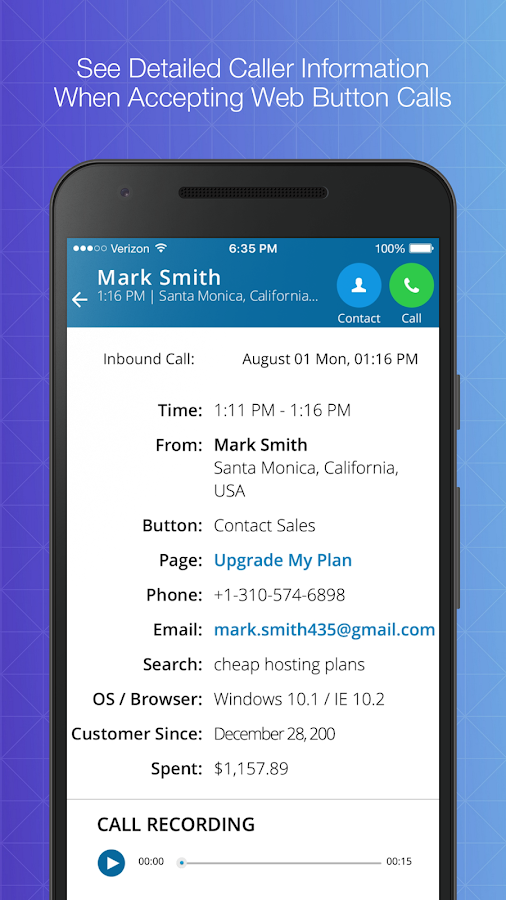 VirtualPhone.com- screenshot