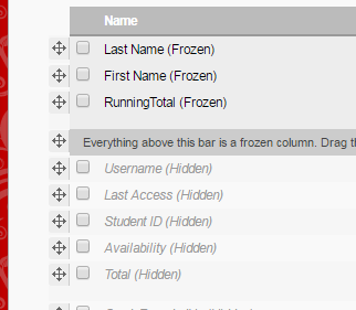 Move Column to Frozen Section