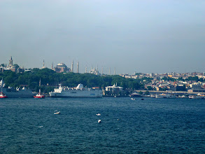 Photo: Ship arrived Istanbul, Turkey, in early morning and docked on the European shore, across the water from the old town (Blue Mosque and Hagia Sophia in the background)