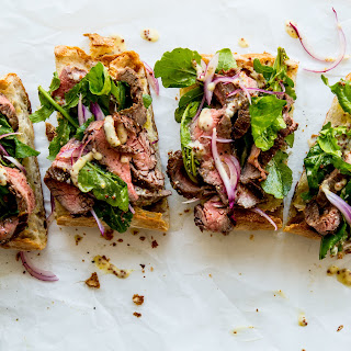Open-Face Steak Sandwich with Parmesan Dressing.