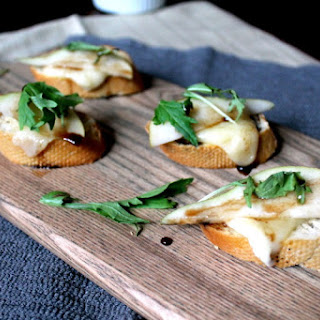 Pear & Brie Toasts Honey Balsamic Drizzle Recipe