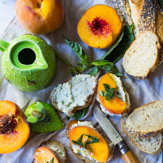Peach Bruschetta with Goat Cheese, Basil and Infused Honey Recipe