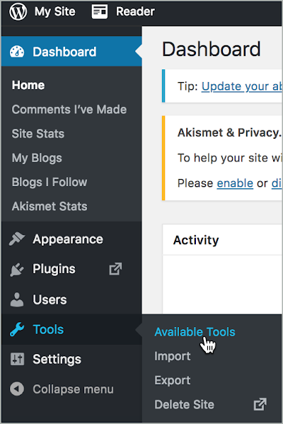 On the WP Admin page, on the left, Tools > Available Tools is selected.