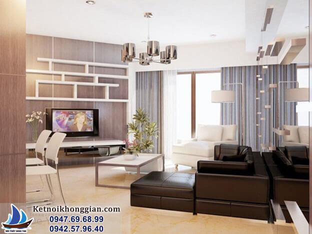 thiết kế phòng khách với trần thấp