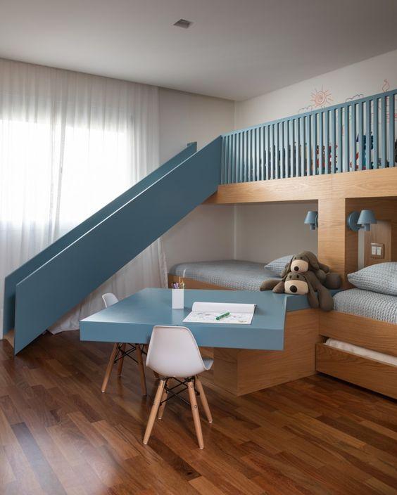 Bunk Bed with A Slide and Desk