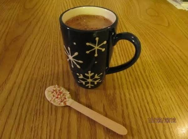 Hot Cocoa With A White Chocolate And Peppermint Spoon