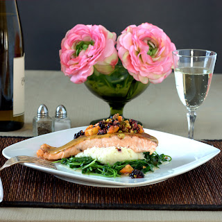 Apricot Ginger Salmon with Poblano Cauliflower Puree, and Wilted Watercress