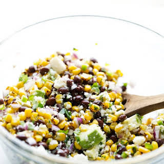 Mexican Street Corn Salad with Black Beans and Avocados.