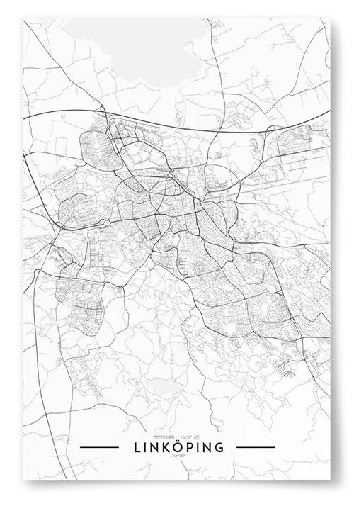 Poster Linköping Karta Svartvit