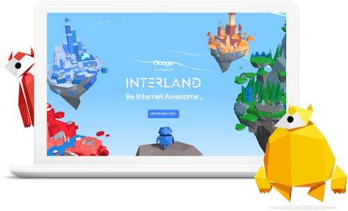 Màn hình máy tính xách tay giới thiệu trò chơi Interland có hình ảnh các vương quốc lơ lửng trên bầu trời và 2 nhân vật thiết kế theo kiểu hình học.