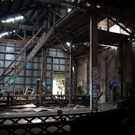 Conveyor by Ella Kingston - Buildings & Architecture Decaying & Abandoned ( conveyor, decaying building, abandoned building, workshop, brewery, graffiti, machinery,  )
