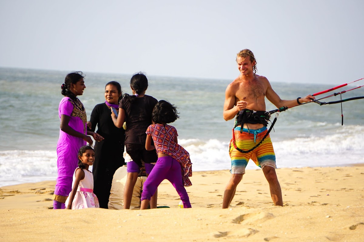 Sri. Lanka Mannar Vayu Resort. Kobus chatting with locals.