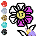 Cute Flowers Coloring and Drawing Pages Glitter icon