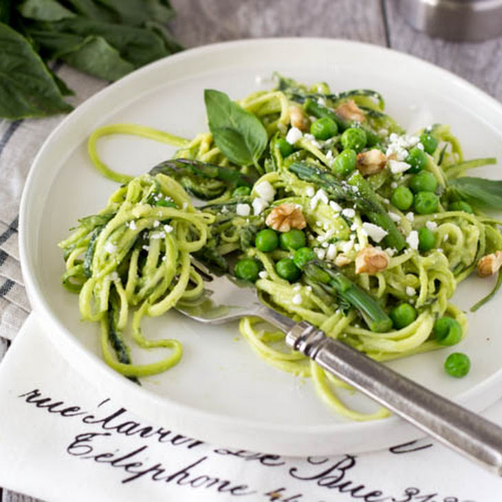 Zucchini Noodles + Avocado Walnut Pesto