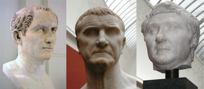 Three busts depicting the members of the First Triumvirate.