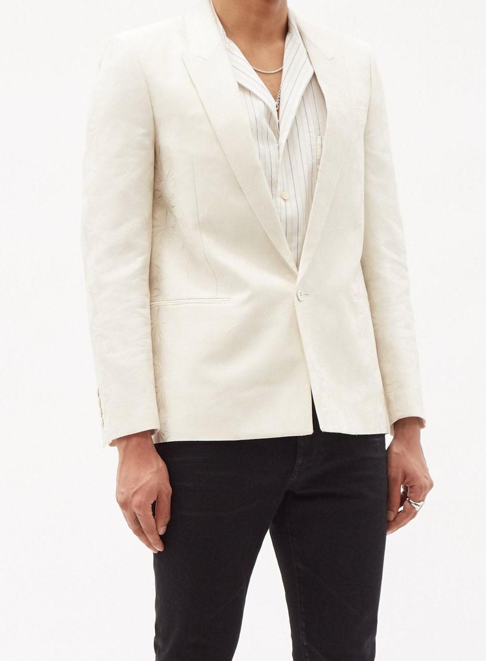 saint-laurent-white-Single-breasted-Floral-jacquard-Wool-blend-Blazer