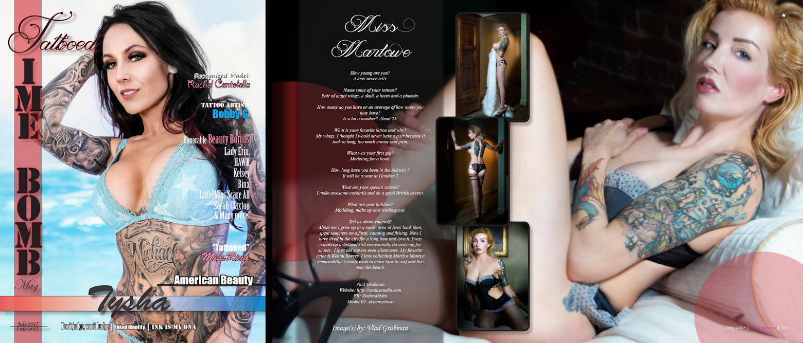 Full tearsheet of July 2017 issue of Tattooed Time Bomb Magazine publication. Model Skye Marlowe, photographer Vlad Grubman / ZealusMedia.com