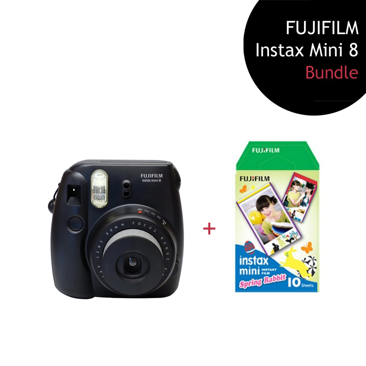 [Bundle] FUJIFILM Instax Mini 8 Camera (Black) + Spring Rabbit Film Pack + Instax Pouch by My Pocket Net Sdn Bhd