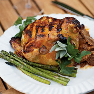 Grilled Cornish Game Hens with Apricot-Chipotle Glaze.