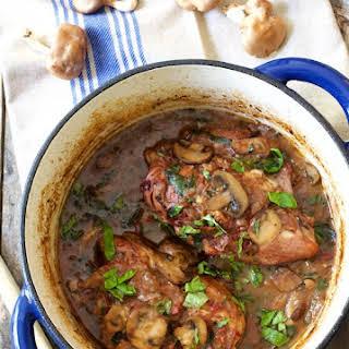 Chicken Pinot Noir with Wild Mushrooms and Fresh Basil.